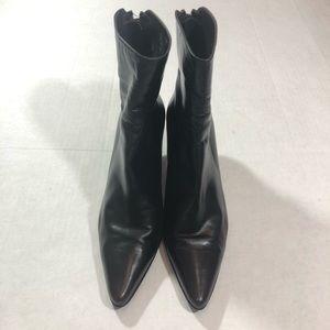 Stuart Weitzman Dark Brown Leather Pointy Booties
